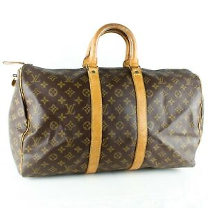 LOUIS VUITTON KEEPALL 45 Old Model Boston Travel Bag Purse Monogram Brown