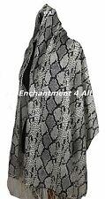 Large Stunning 2-Ply 100% Cashmere Pashmina PYTHON Shawl Wrap Scarf, Gray