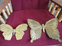 Vintage Home Interiors PAIR Syroco Gold Finish Butterflies Wall Art Plaques