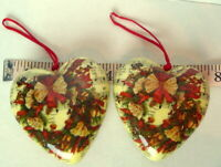 Christmas Heart decorated with Music Notes and Wreaths Ornament Lot of 2