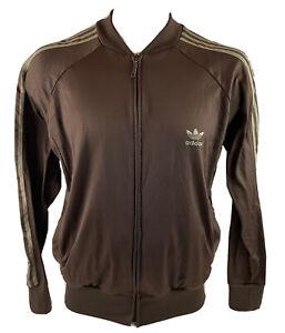 Adidas Track Collarless Jacket Trefoil Three Stripes Brown Unisex Medium T94