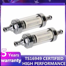 "2X In/Outlet 5/16"" Fuel Filter Glass Motorcycle Fuel Petrol Diesel Inline Filter"