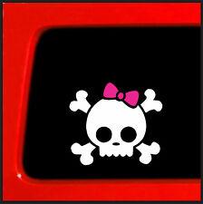 White Skull Bones Pink Bow Tie Skull  funny car vinyl sticker decal window girl