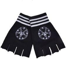 New Pentagram Goat  Mendes Skull Fingerless Gloves Black White one size GOTH