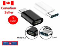 3X Micro USB to USB C TYPE C 3.1 Cable Adapter for S9 S8 Note 8 9 Lg G6 Macbook