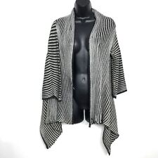 M Missoni Cardigan sweater 46 It 10 US black gold silver stripe drape metallic