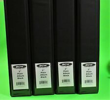 "4 BCW 2"" ALBUMS - PLAIN BLACK / 3 RING BINDER - HOLDS 60+ PAGES EACH"