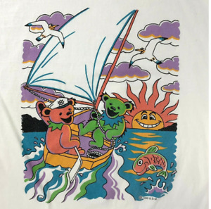 HOT!! Rare Vintage 1995 Grateful Dead Bears Sailing Boat Single Stitch T-Shirt