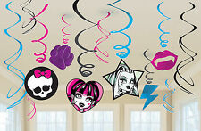 Monster High Girl's Birthday Party Hanging Swirl Decorations - Pack 12