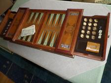 BACKGAMMON Franklin Mint groß mit 24k vergoldeten/silberten Spielsteine TOP NARD