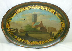 """Antique 19th C Scenic Folk Art Painted Metal Tole Tray 9.5"""" x 13"""" Church 1800s"""