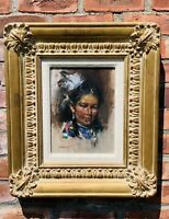 Western Artist Cyrus Afsary Portrait Of A Lovely Native American Woman. Signed