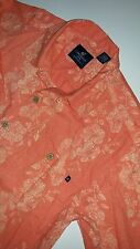 Mens Caribbean Joe Hawaiian Island Shirt Size L Coral Short Sleeve Cotton Blend