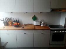 Einbauküche, weiß, Arbeitsfläche Massivholz