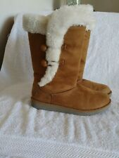 Air Walk Womens Faux Suede Fleece Lined Hook And Loop Tan Boots Sz 7 M