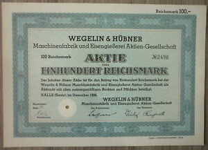Aktie, Wegelin & Hübner Maschinenfabrik und Eisengießerei 1936 (Art.3218)