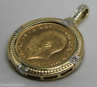SOLID 9CT YELLOW GOLD 22ct Gold Sovereign Coin Diamonds Pendant Enhancer bale