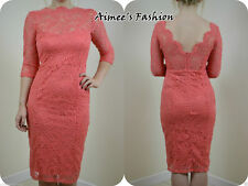 NEXT NEW TALL UK 10 CORAL PREMIUM OPEN BACK VINTAGE LACE DRESS