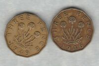 TWO KEY DATE 1946 & 1949 BRASS THREEPENCE COINS IN GOOD FINE CONDITION