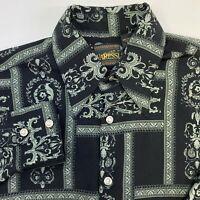 Varessi Button Up Shirt Mens 2XL Black Green Long Sleeve Microfiber Floral Print