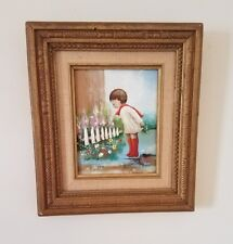 Enamel On Copper Painting Signed Betty Chou Limited Edition Girl Flowers Frame