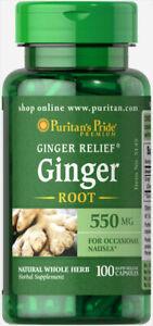 Ginger Root 550mg Puritan's Pride 100 Capsules Digestive Health