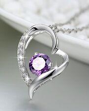 Purple Heart Sterling Silver Pendant Necklace Swarovski element FS w/gift box