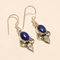 Natural Afghan Blue Lapis Lazuli Charm Earrings 925 Sterling Silver Fine Jewelry
