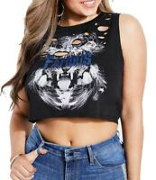 Guess Womens Top Classic Deep Black Size Large L Cropped Graphic Tee $44 119