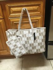 DKNY HQ COATED LOGO REVERSIBLE TOTE BAG WHITE CHINO w/ COSMETIC CASE NEW NWT $95
