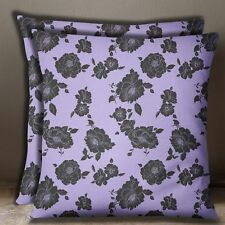 Cotton Poplin Lavender Cushion Cover Floral Print Pillow Sofa Cushion Cover