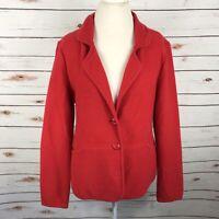 Pendleton 100% Lamb Wool Red Button Sweater Blazer Womens Size M Classic