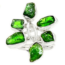 Natural Emerald Rough 925 Sterling Silver Ring Jewelry s.7.5 RR45774