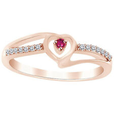 Round Cut Pink Sapphire & Cubic Zirconia Heart Promise Ring 14K Rose Gold Over
