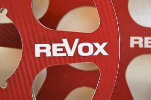 "2 x REVOX LOGO RED CARBON FIBER 6 SPOKE LOOK 10.5"" X 1/4"" NAB HUBS REEL TO REEL"