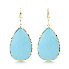 With Pear Shaped Turquoise Dangle 14K Yellow Gold Gemstone Earrings
