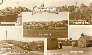 GREETINGS FROM CLAUDY CO. DERRY LONDONDERRY IRELAND RP IRISH POSTCARD