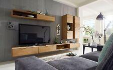 Wohnwand Wildeiche massiv natur, TV-Unterteilen + Hängevitrine Woody 141-00150