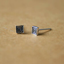 A pair of Solid 925 Sterling Silver Square Unisex Stud Helix Tragus Earrings