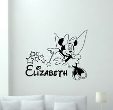 Personalized Minnie Mouse Wall Decal Custom Girl Fairy Vinyl Sticker Art 110crt