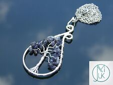 Handmade Iolite Tree of Life Natural Gemstone Pendant Necklace 50cm Healing