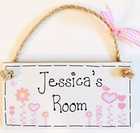 PERSONALISED ANY NAME GIFT new baby girl Room door / birth sign plaque keepsake