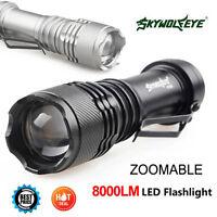 SkyWolfeye 8000 LM CREE Q5 LED Flashlight Zoomble Mini Torch Light Lamp 14500 FF