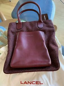 Lancel Brand New Italy Burgundy Color Fabric/ Leather Tote