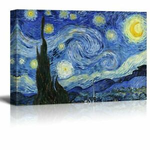 """Starry Night by Vincent Van Gogh - Oil Painting Reproduction on Canvas-24"""" x 36"""""""