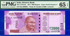 2017 India 2,000 Rupees (( Serial # 6 )) PMG Gem-Uncirculated 65EPQ
