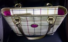 Authentic Coach Peyton Tattersal PVC Tote Bag Shoulder Purse F20093 White/Gold