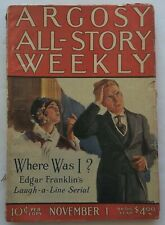 ARGOSY ALL-STORY WEEKLY pulp magazine November 1, 1924