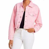 Blank NYC Tutti Fruitti Pink Denim Cropped Jacket Women's M New