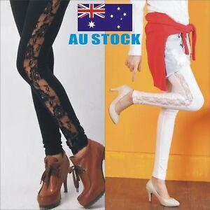 Women`s Sexy Lace Side Panel LEGGINGS S-XXXL Au Size 8-22 BLACK WHITE